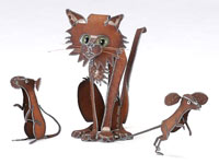 Henry Dupere Cat with Mice Garden Sculpture (Set of Three)
