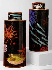Sea Life Design Cloisonne Covered Jars / Set of Two