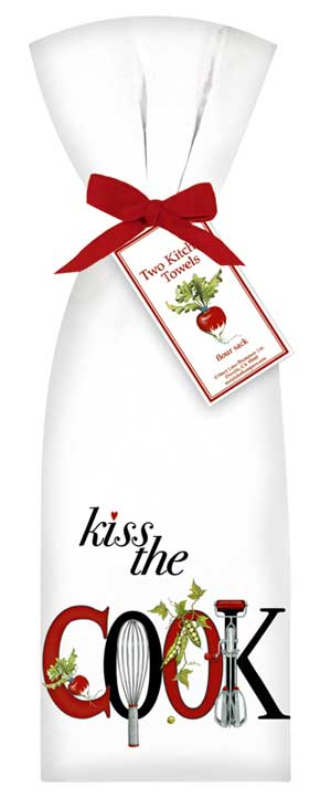 Mary Lake-Thompson Flour Sack Dish Towels - Kiss The Cook Design  (Set of 2)